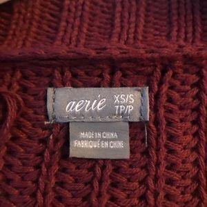 american eagle maroon knit cardigan